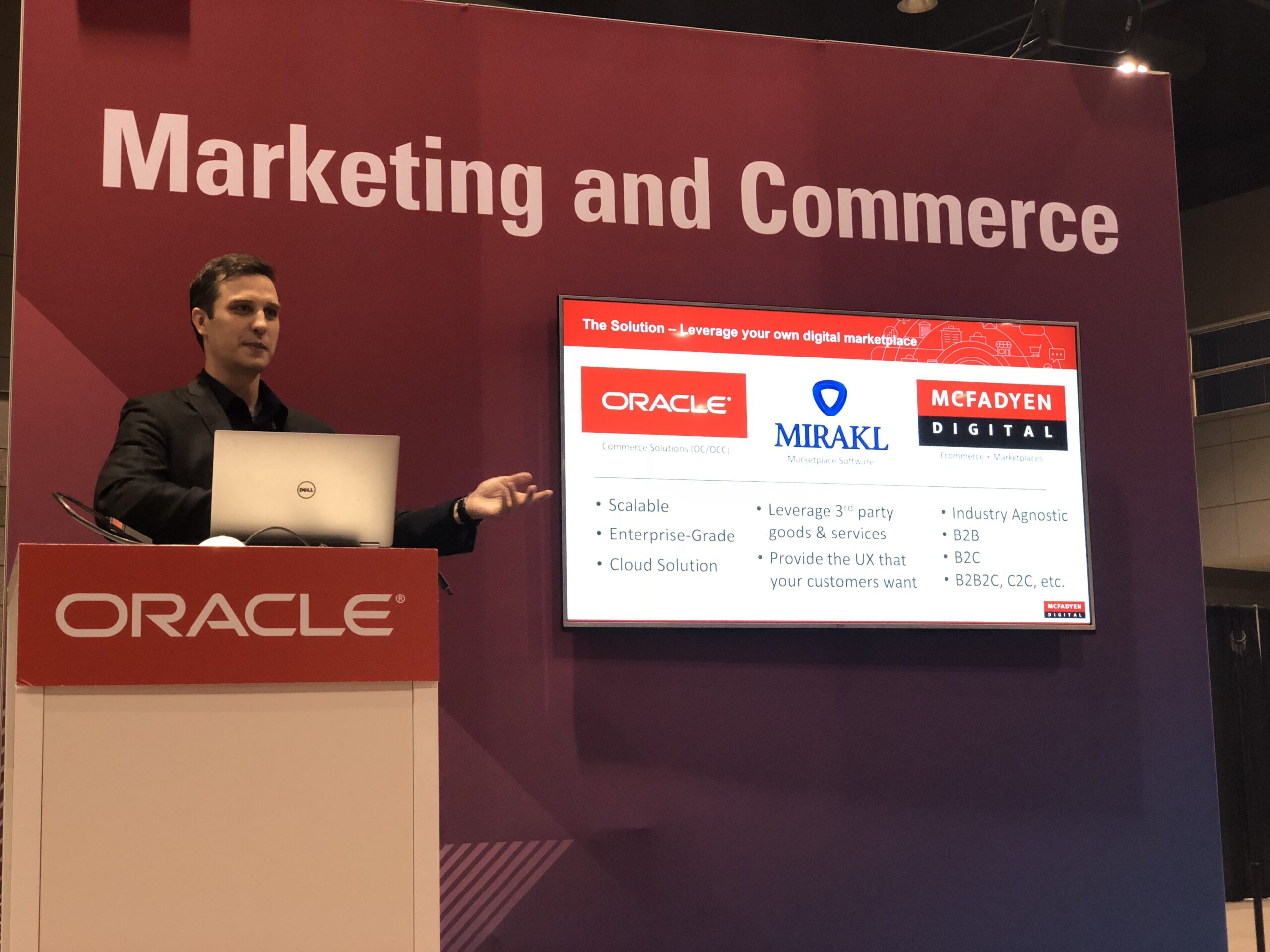Lorcan McGann presenting about Marketplaces at MCX18
