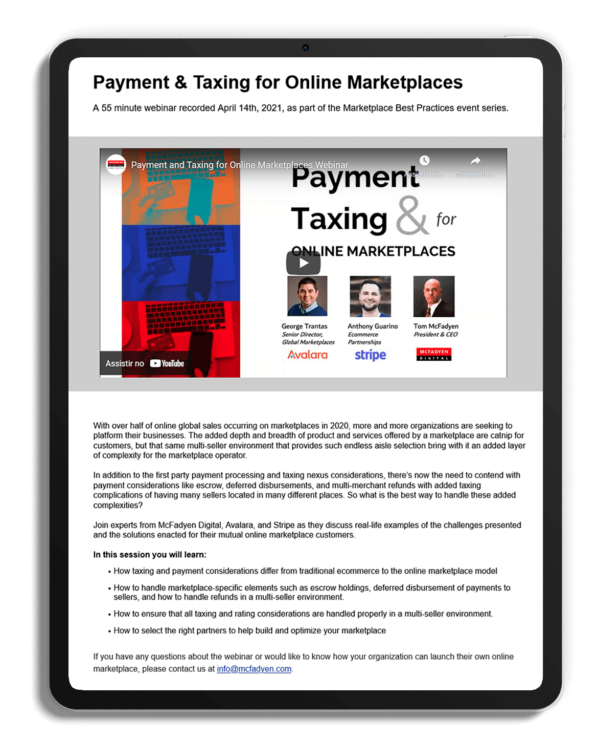 Payment & Tax for Online Marketplaces
